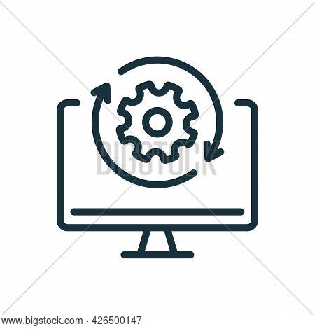 Upgrade Of Software Line Icon. Computer System Update Linear Pictogram. Download Process Icon. Progr