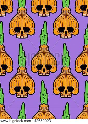 Skull Onion Pattern Seamless. Bulb Onions Skeleton Background. Vector Texture