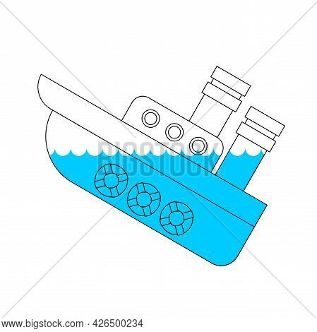 Sunken Ship Icon. Shipwreck Sign. Vector Illustration