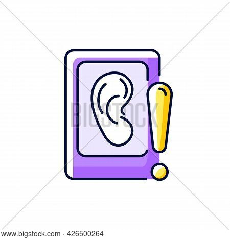 Eavesdropping On Mobile Devices Purple Rgb Color Icon. Isolated Vector Illustration. Spying With Sma