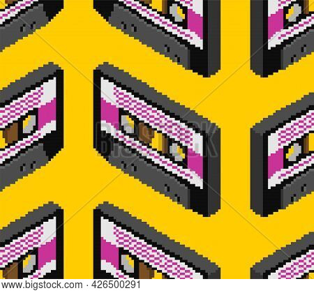 Retro Cassette Pixel Art Pattern. Boombox Cassette 8 Bit Background