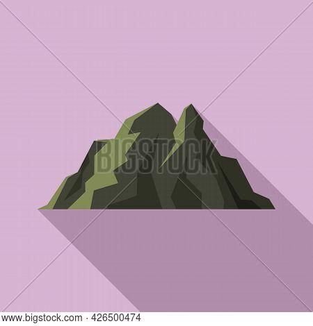 Ireland Mountain Icon Flat Vector. Ocean Cliff. Ireland Coast Landscape