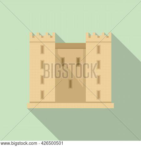 Castle Facade Icon Flat Vector. Old Medieval Castle. Stone Door