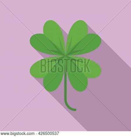 Clover Plant Icon Flat Vector. Four Leaf Plant. Shamrock Irish Lucky