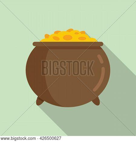 Golden Cauldron Icon Flat Vector. Gold Pot. Irish Golden Treasure