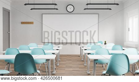 Classroom With Whiteboard And Empty Desks. Education Concept, Back To School. 3d Render