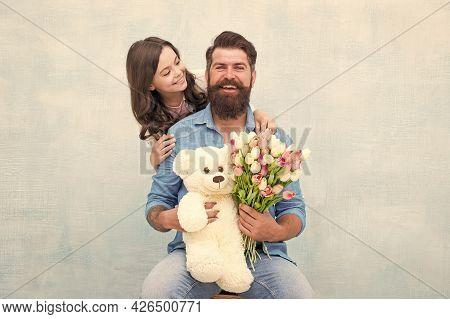 Heres To Celebrating You. Happy Family Celebrate Birthday. Little Girl Congratulate Bearded Man. Sma