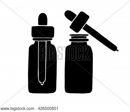 Vector Hand Drawn Doodle Sketch Black Oil Essence Bottle Isolated On White Background