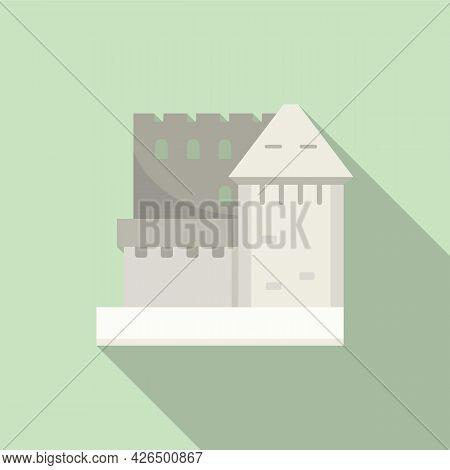 Slovenia Castle Icon Flat Vector. Travel Poster. Mountain Castle
