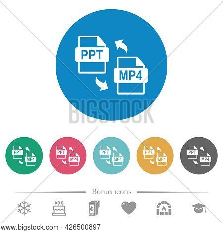Ppt Mp4 File Conversion Flat White Icons On Round Color Backgrounds. 6 Bonus Icons Included.
