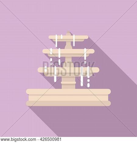 City Fountain Icon Flat Vector. Water Garden Fountain. Park Town Feature
