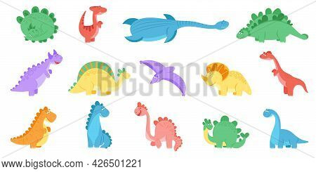 Funny Dinosaurs. Colourful Dinosaur Print, Dino Cute For Kids. Isolated Cartoon Prehistoric Animals.