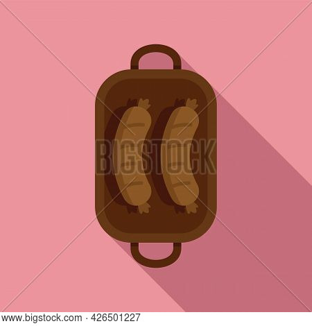 Bbq Sausage Icon Flat Vector. Barbecue Grill. Meat Fork Bbq Sausage