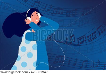 Musical Relaxation. Girl Listen Music In White Headphones. Happy Woman And Sound Wave With Notes, Ab