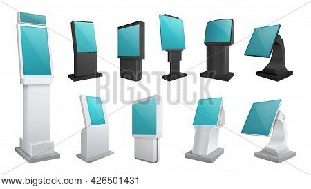 Realistic Kiosk Screen. Display Mockup, Touch Digital Stands. Payments Or Electronic Ad Boards. Isol