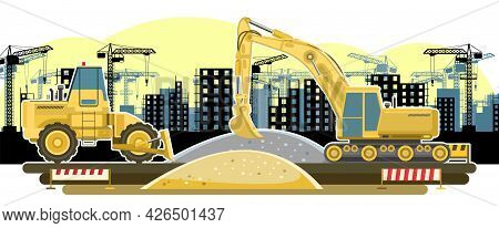 Building. Modern Residential And Industrial Buildings. Lifting Crane. Bulldozer And Excavator. Moder