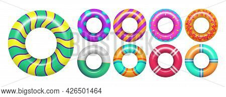 Rubber Rings. Colorful Swimming Ring For Sea Or Pool. Isolated Vacation Realistic Accessories For Sw