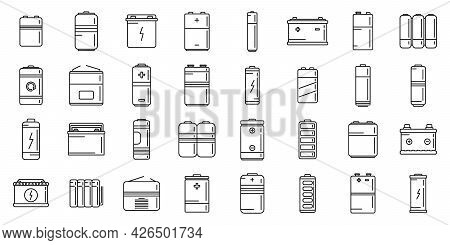 Recharge Battery Icons Set Outline Vector. Power Charger. Alkaline Cell Battery