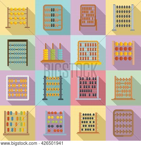 Abacus Icons Set Flat Vector. Accounting Calculate. Math Education