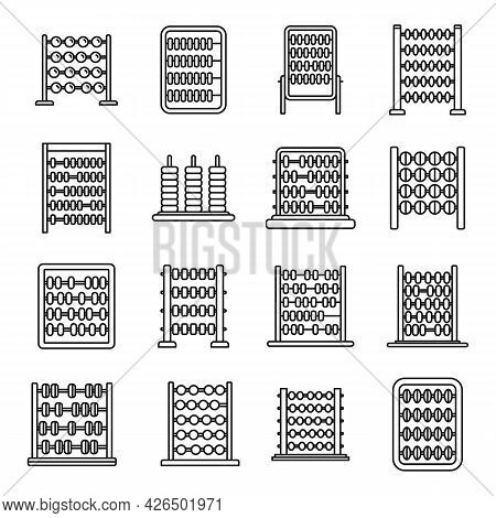 Calculate Abacus Icons Set Outline Vector. Finance Education. Math Count