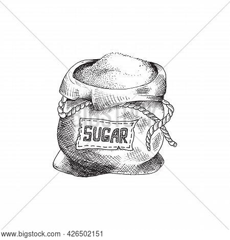 Black And White Hand-drawn Illustration Of Open Sugar Sack With Inscription Sugar.