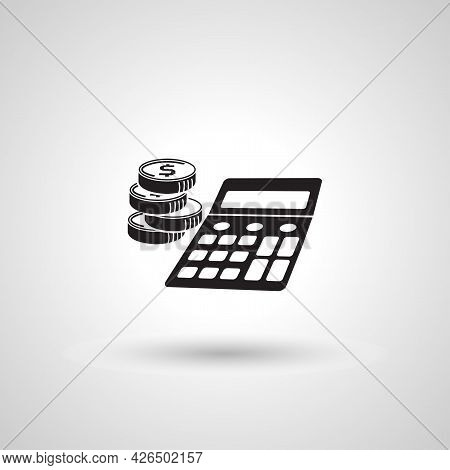 Bookkeeping Icon. Calculator With Coin Sign. Bookkeeping Isolated Simple Vector Icon