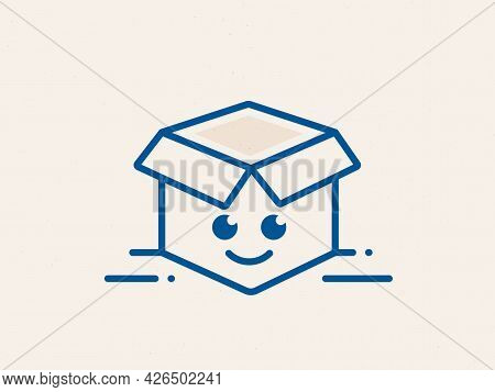 Open Delivery Box Logo With Cartoon Smile Face. Happy Courier Delivery Package Box Icon. Send Parcel