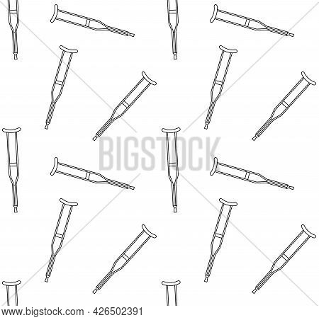 Vector Seamless Pattern Of Flat Invalid Crutch Isolated On White Background