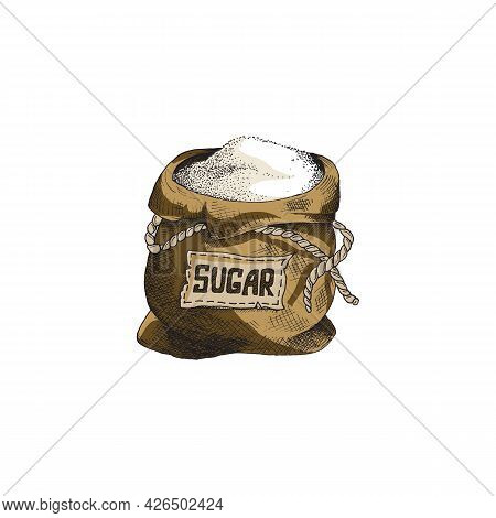 Open Canvas Bag With Cane Or Beet Sugar, Engraving Vector Illustration Isolated.