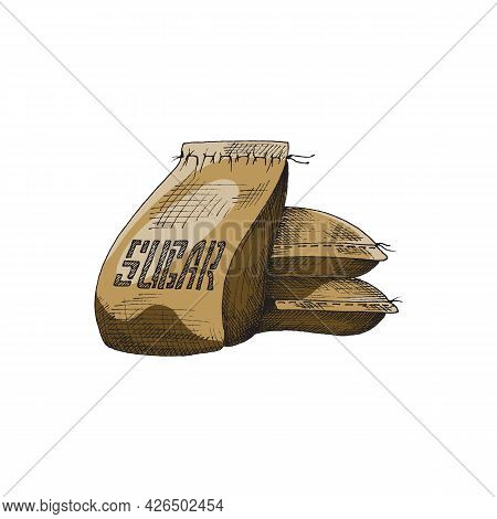 Cane Sugar Bags Stack, Hand Drawn Engraving Vintage Vector Illustration Isolated.