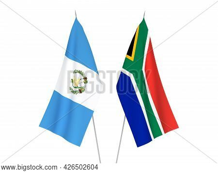 National Fabric Flags Of Republic Of South Africa And Republic Of Guatemala Isolated On White Backgr