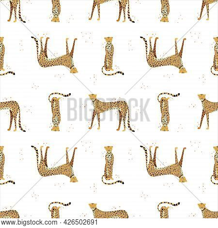 Seamless Pattern With Hand Drawn Exotic Leopards And Cheetahs On White Background. Colorful Flat Vec