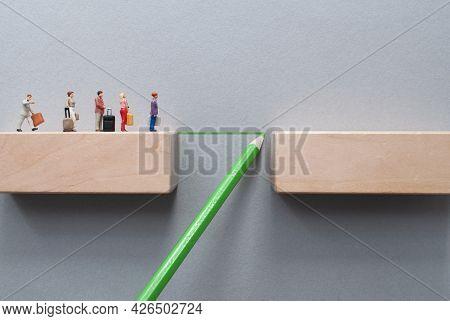 Miniiature Travellers Crossing A Bridge Drawn By Green Pencil