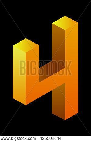 Gradient Golden Number 4 In Isometric Style. Yellow Figure Isolated On Black Background. Learning Nu