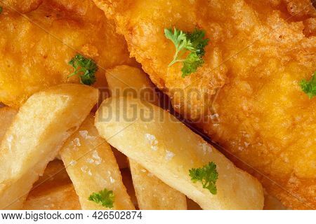 Fish And Chips Meal Close Up Meal