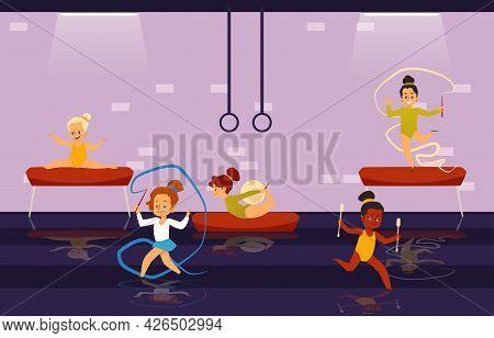 Little Kids Girls Gymnast Practicing Gymnastics Exercises In Gym.