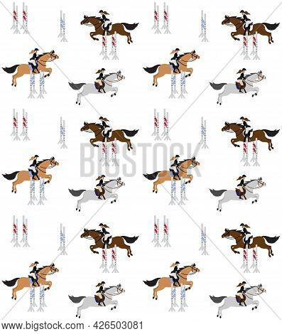 Vector Seamless Pattern Of Flat Hand Drawn Equestrian Woman Riding Show Jumping Horse Isolated On Wh