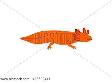 Cartoon Minimalist Style Lizard With Big Tail Flat Vector Illustration Isolated.
