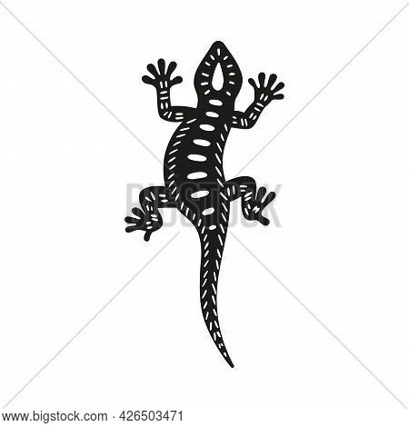 Salamander Or Gecko Lizard Black Icon Vector Illustration Isolated On White.