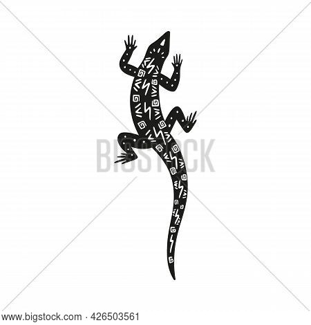 Gecko Lizard Black Silhouette With Ornament On Back Vector Illustration Isolated.