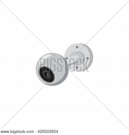 Video Surveillance Cctv Wall Camera, Flat Vector Illustration Isolated.