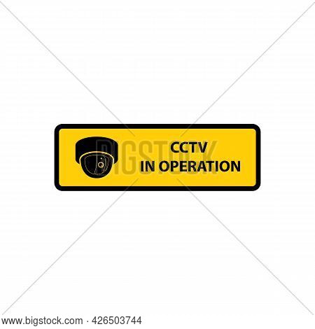 Video Surveillance Cctv In Operation Banner Vector Illustration Isolated.