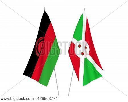National Fabric Flags Of Burundi And Malawi Isolated On White Background. 3d Rendering Illustration.