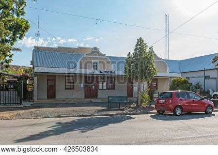 Prince Albert, South Africa - April 20, 2021: A Street Scene, With The Municipal Offices, In Prince