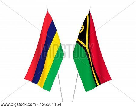 National Fabric Flags Of Republic Of Mauritius And Republic Of Vanuatu Isolated On White Background.