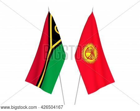 National Fabric Flags Of Kyrgyzstan And Republic Of Vanuatu Isolated On White Background. 3d Renderi