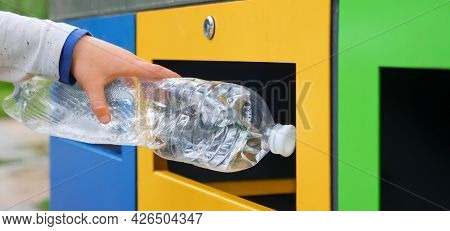 Bin. Child Hand Throwing Plastic Bottle Recycling Container Garbage Sorting Rubbish Collection Bin.