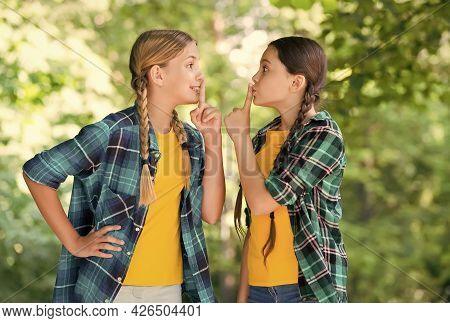 Keep A Secret. Happy Childrens Day. Funny Time Spending. Cheerful Girls Best Friends. Wearing Denim