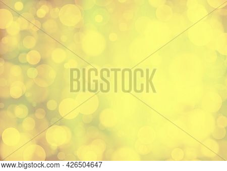 Yellow Brown Gold Background With Bokeh Effect, Blur And Gradient. Colorful Blurred Texture. Modern