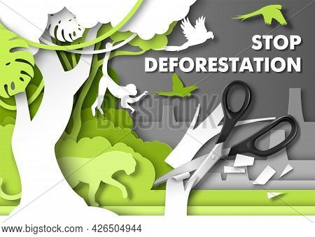 Stop Deforestation Poster. Jungle Animals Looking At Scissors Cutting Rainforest Tree, Vector Paper